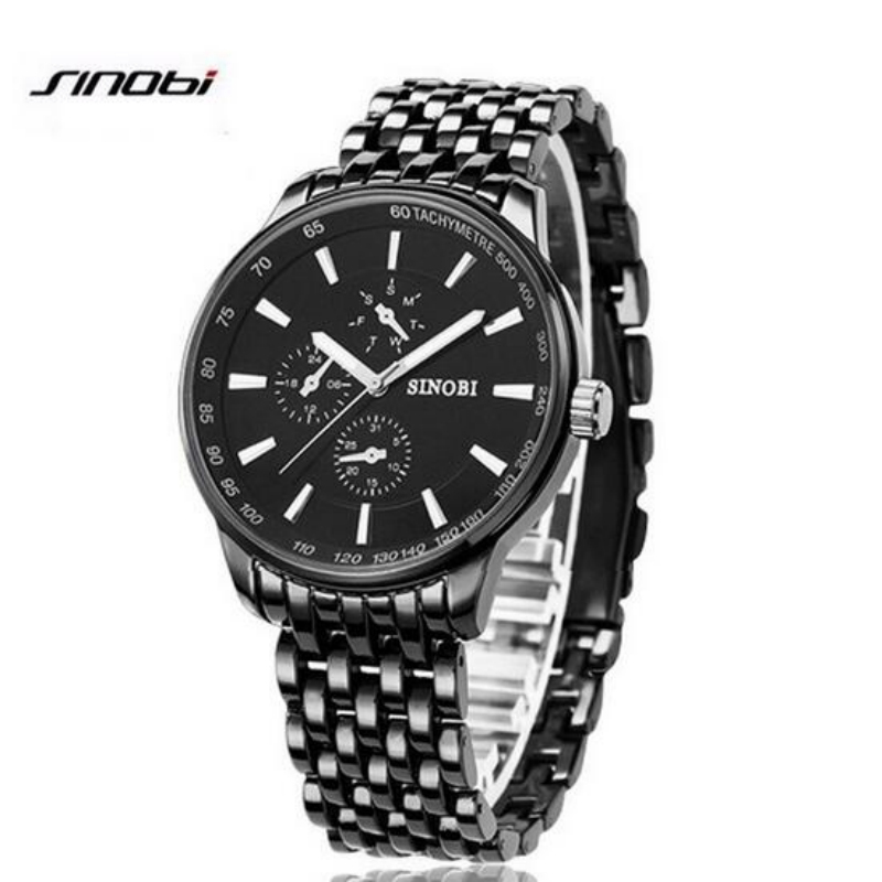 SINOBI Fashion Black Stainless Steel Watch Men Watch Luxury Men's Watch Waterproof Watches Men Clock saat relogio masculino ysdx 398 fashion stainless steel self stirring mug black silver 2 x aaa