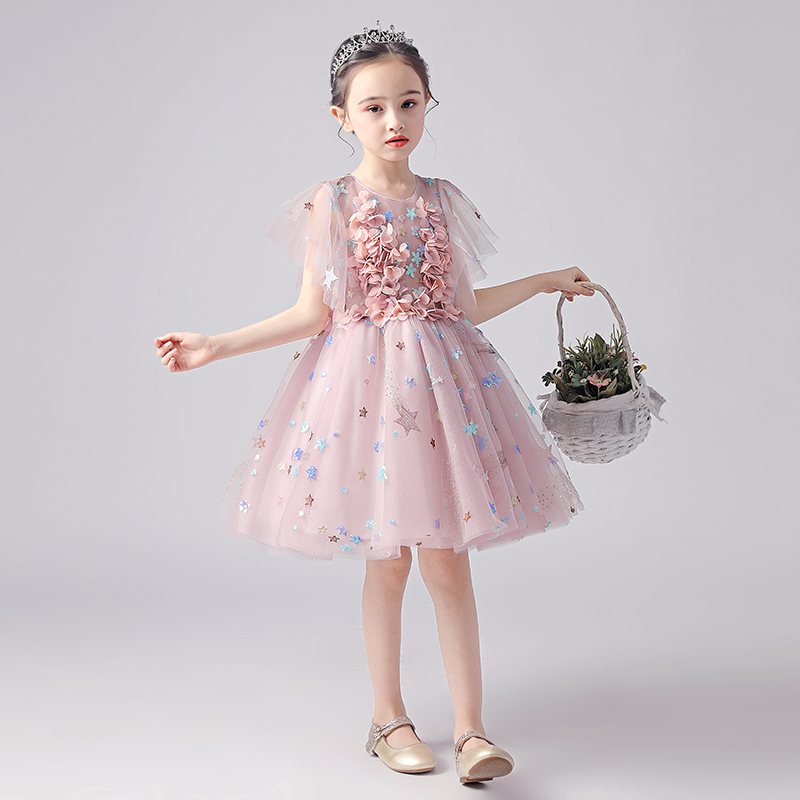 Girl princess dress kid party pageant pink short prom dress baby stylish clothes delicate dress evening ball gowns for childrenGirl princess dress kid party pageant pink short prom dress baby stylish clothes delicate dress evening ball gowns for children