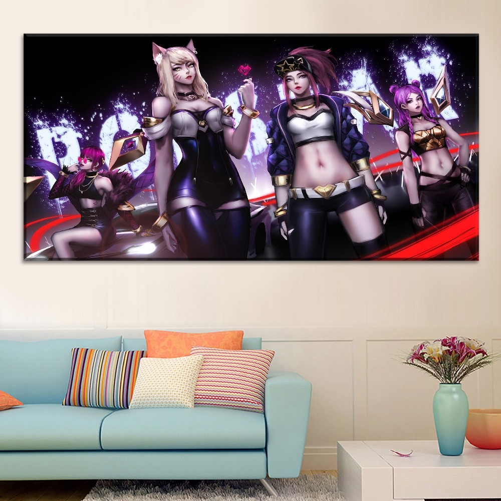 League of Legends Sexy Girls Painting On Canvas Print Type And On The Wall Decorative Artwork 1 Panel Style Game Large Poster in Painting Calligraphy from Home Garden