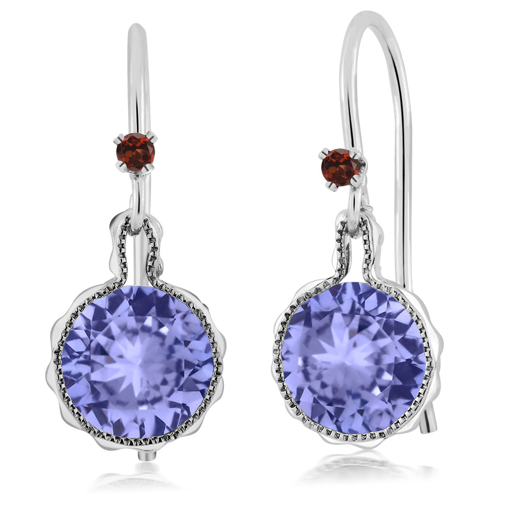 Gem Stone King Round Blue Tanzanite Red Garnet 925 Sterling Silver Earrings  Drop Earrings(china