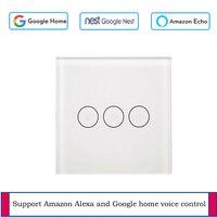 WIFI Smart Touch Schalter APP Wireless Remote Licht Wand Schalter Kristall Glas Panel Arbeitet Mit Graffiti Alexa/Google Hause