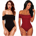 2017 de Fitness Elegante Red Manga Curta Fora Do Ombro Sexy Bodysuit Mulheres Jumpsuit Romper One Piece Bodycon Skinny Preto Geral