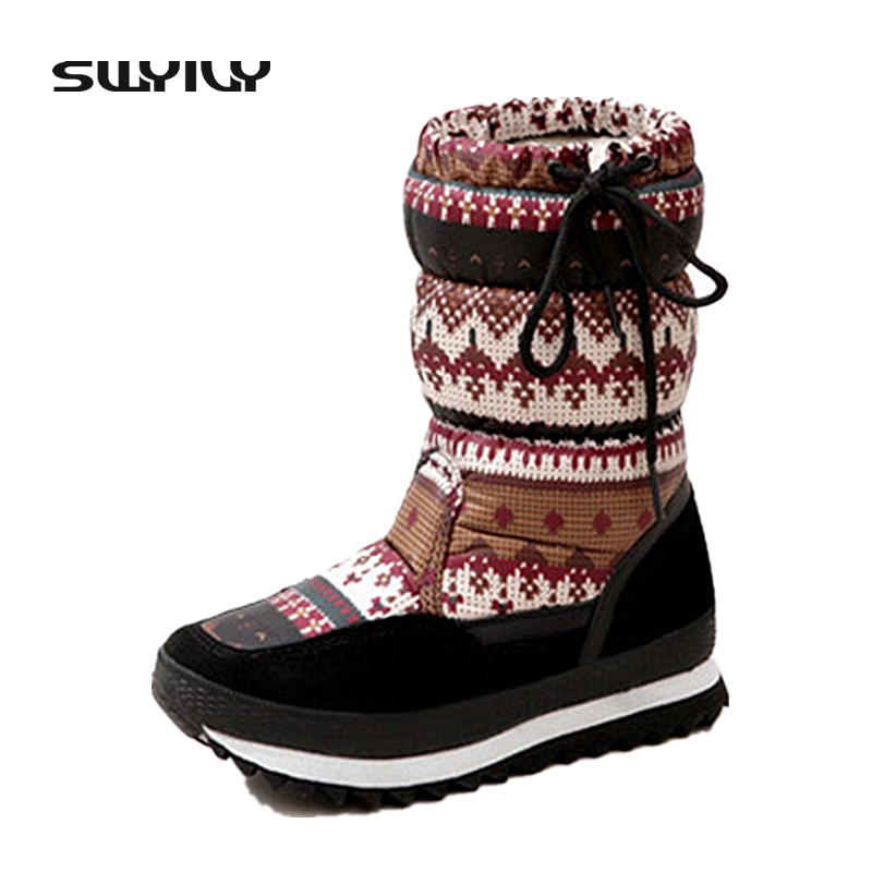 40 National Floral Fur Snow Boots For Woman 2017 Winter Lacing Outdoor Non-slip Snow-padded Shoes Cotton Shoes Female