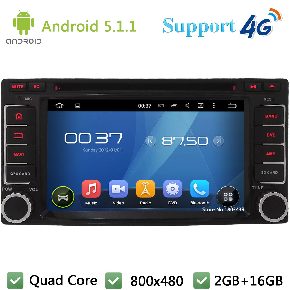 Quad Core 2Din Android 5.1.1 Car DVD Player Radio Stereo Screen USB BT FM DAB+ 4G WIFI G ...