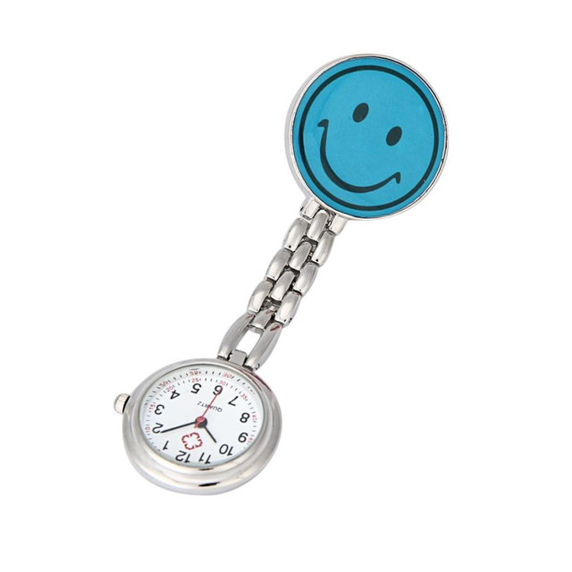 Timezone#301 Nurse Watches Brooch Fob Medical Nursery Clocks Colorful Smile Faces Quartz Pocket Pendant Hanging Watch