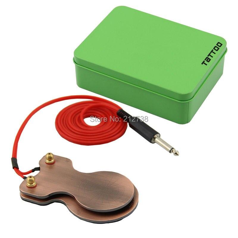 Бесплатная доставка Сталь Медь покрытие татуировки педаль силиконовый шнур для Питание красный с синим коробка или зеленый