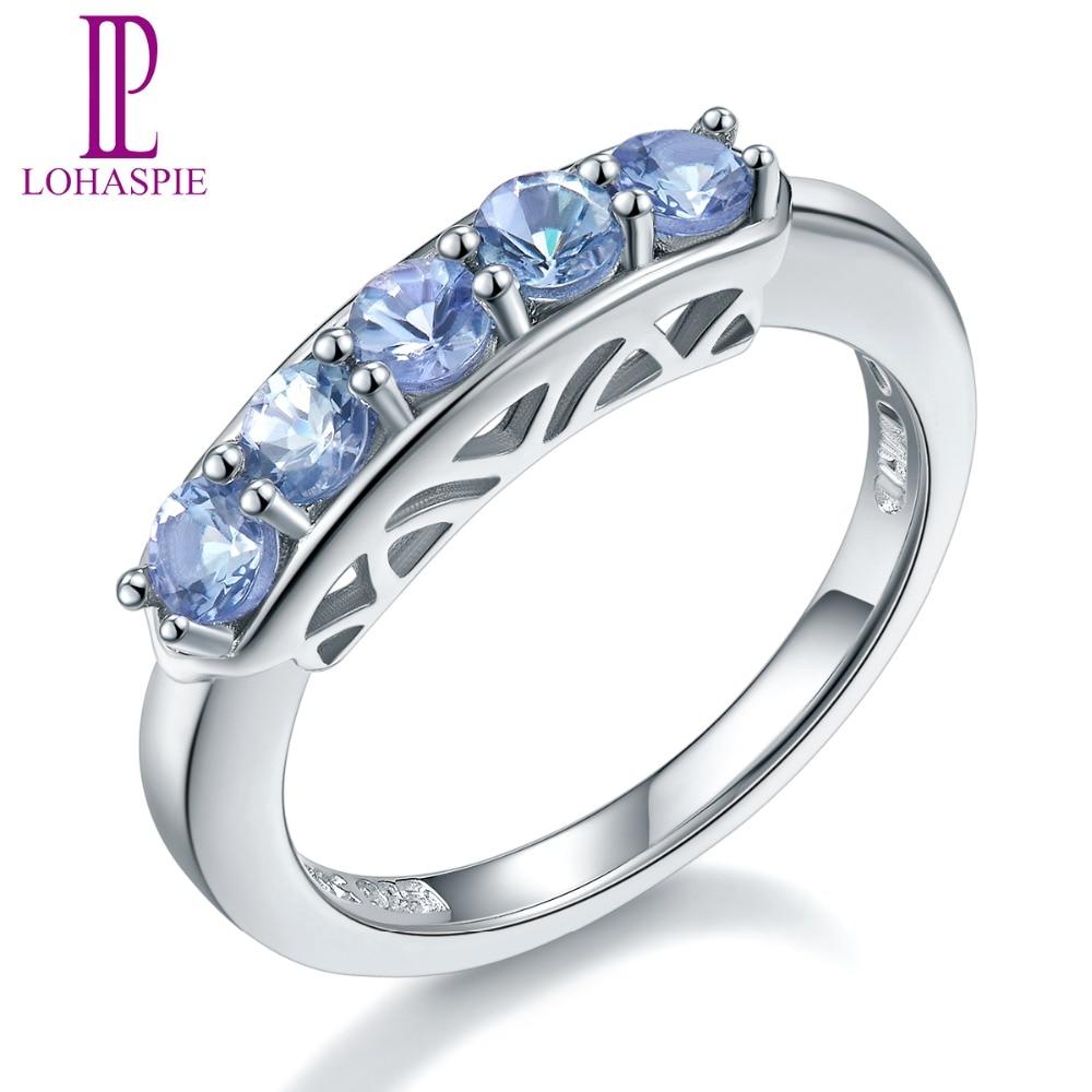 Lohaspie Natural Gemstone Tanzanite 925 Sterling Silver Wedding Band Rings For Women Fine Jewelry все цены