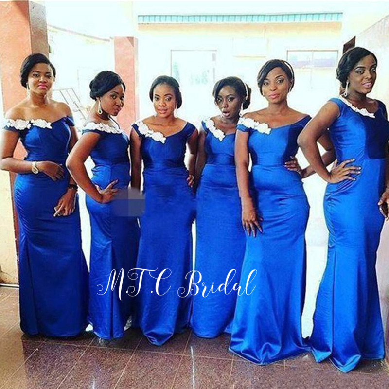 Wholesale 2019 Royal Blue African   Bridesmaid     Dresses   White Appliques Boat Neck Floor Length Mermaid Maid Of Honor   Dress   Cheap