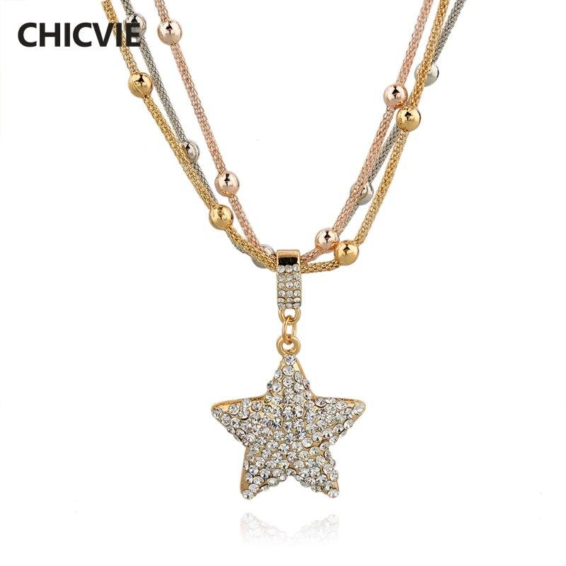 CHICVIE Estrela Da Cor do Ouro de Cadeia Longa Camisola Colares Para As Mulheres declaração de Cristal Colar de Jóias Étnicas Do Vintage Acessórios