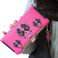 Xiniu llegada Womens boutique de alta calidad de cuero punk Skull Print Card holder pu Monederos Girl larga cartera