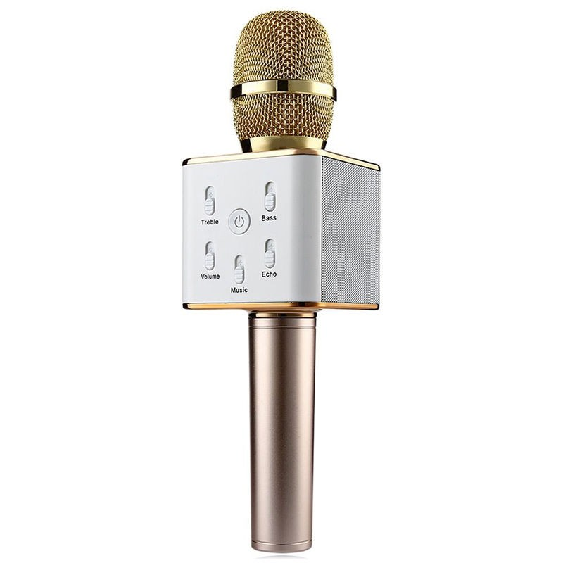 Free shoping Q7 Mini Karaoke Player Wireless Condenser Microphone with Mic Speaker KTV Singing Record for Smart Phones  Computer  2016 new k068 wireless microphone microfone with mic speaker condenser mini karaoke player ktv singing record for smart phones
