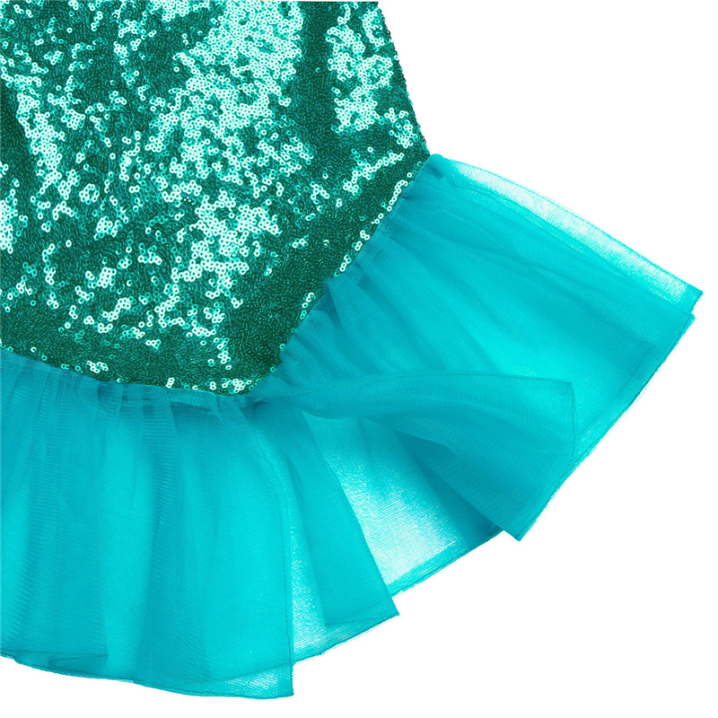 2PCS Girls Shiny Sequins Mermaid Tails Party Holiday Costume Outfits Top+Skirt