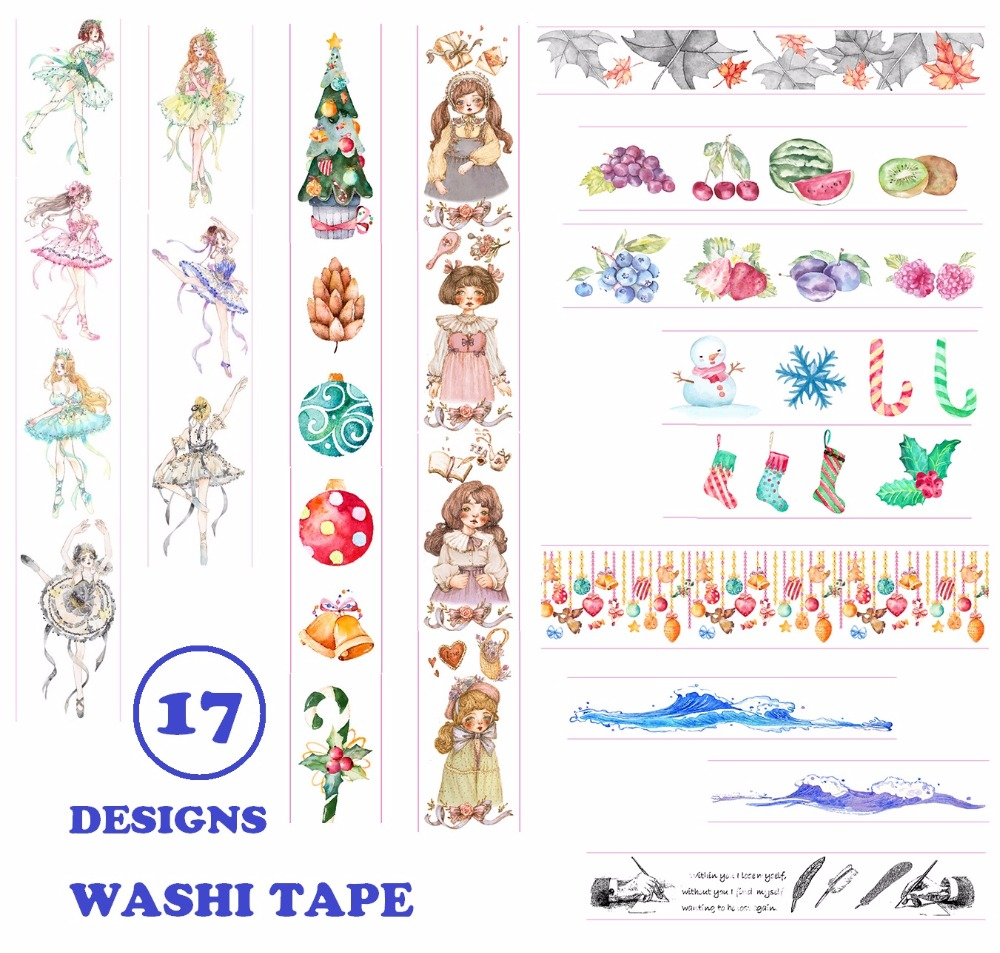 17Designs Flowers/Star/Girls/Butterfly/Feather/Flamingo Japanese Washi Decorative Adhesive DIY Masking Paper Tape Sticker Label