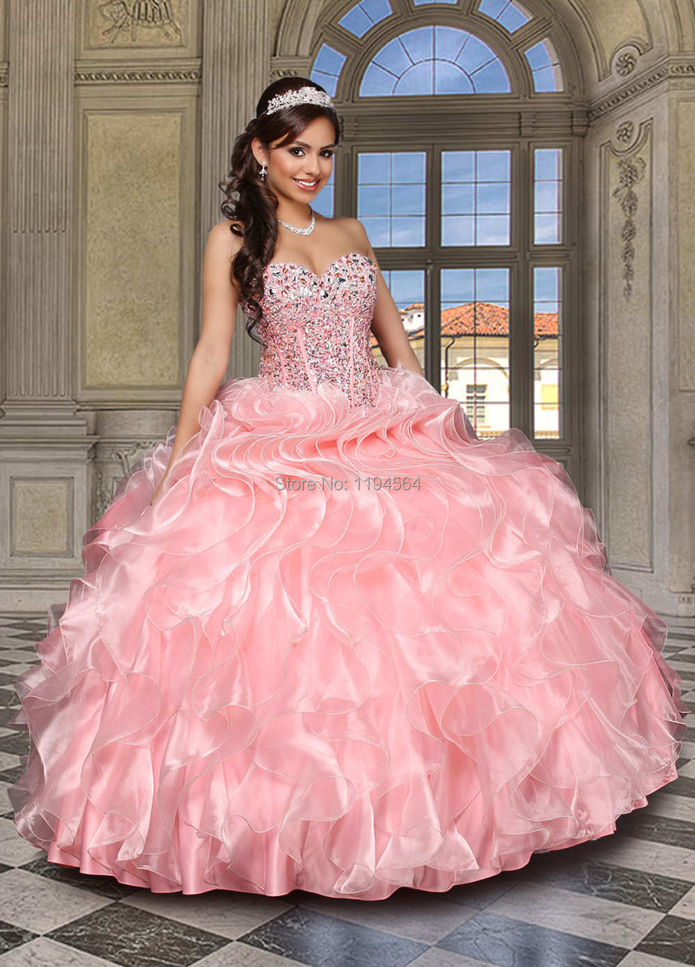 Impresionante rebordeado Pink Quinceanera vestidos vestidos de bola ...