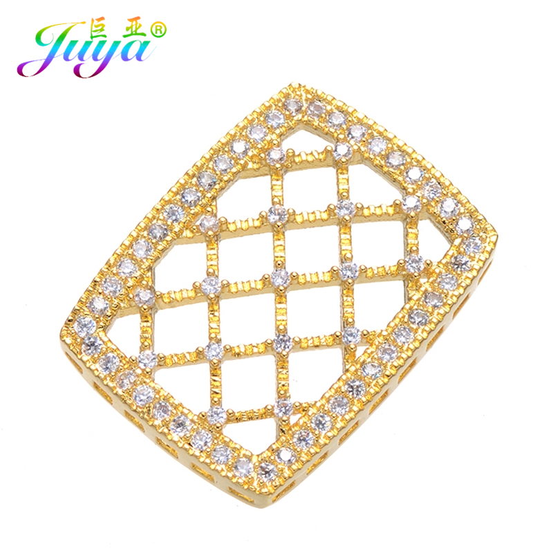 Handmade Jewelry Components Hollow Square Metal Fastener Connectors Accessories For Women Natural Stones Pearls Jewelry Making