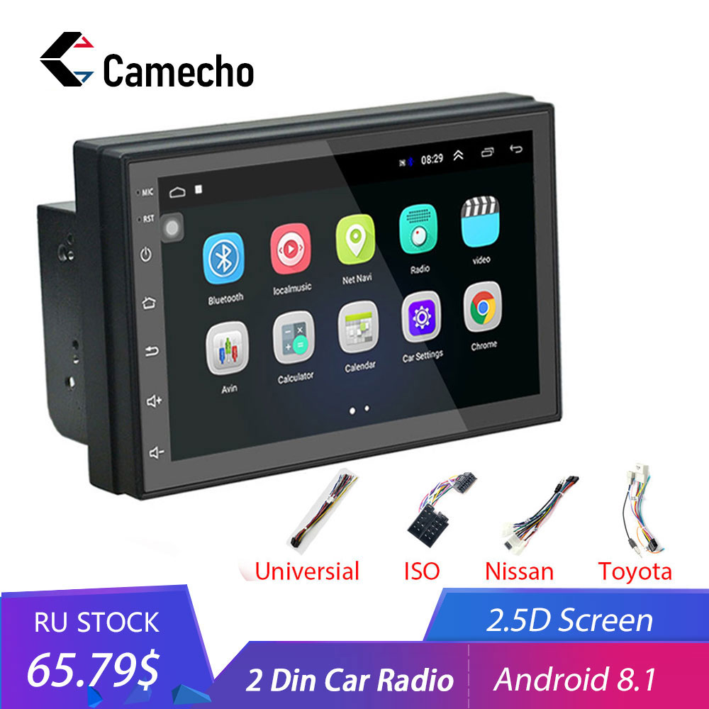 Camecho Android 8 1 2 Din Car radio Multimedia Video Player Universal auto Stereo GPS MAP