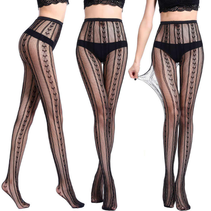 8c04c8d04c9 ... Fashion 1 Pair Women Net Pantyhose Sexy Fishnet Black Stockings  Transparent Printing Pattern Hollow Out Tights