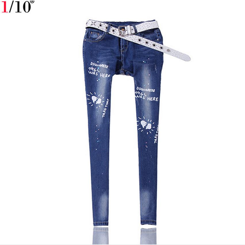 ФОТО fashino brand autumn winter new letters Bronzing pattern washed bead jeans female high quality cowboy fashion jeans pants w1878