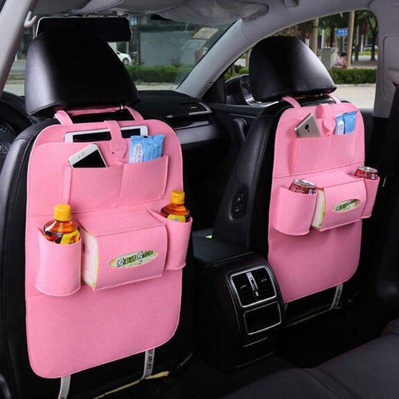 Organizador del bolso del asiento del coche, protectores traseros del asiento de fieltro de lana para niños, botellas de almacenamiento, caja de pañuelos