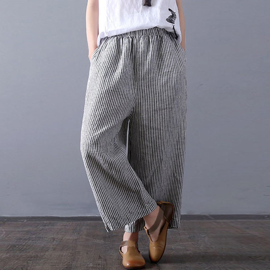 Women Hight Waisted   Pants   Plue Size S-5XL Ladies Hole Linen Stripe Loose Long   Wide     Leg     Pants   Length Jeans pantalon femme 2019