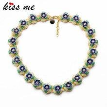 KISS ME New Design Fashion Jewelry Blue Resin Flowers Pendant Statement Long Necklaces &Pendant 2017