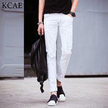 Hot Sell White Ripped Jeans Men With Holes Super Skinny Designer Brand Slim Fit Destroyed Torn Jean Pants For Male