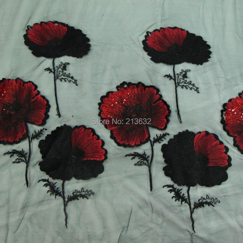 POp73-16 hilo textil puntilla bordado tela bordado ordenador algodón tela fina flor parche materiales hilo - 3