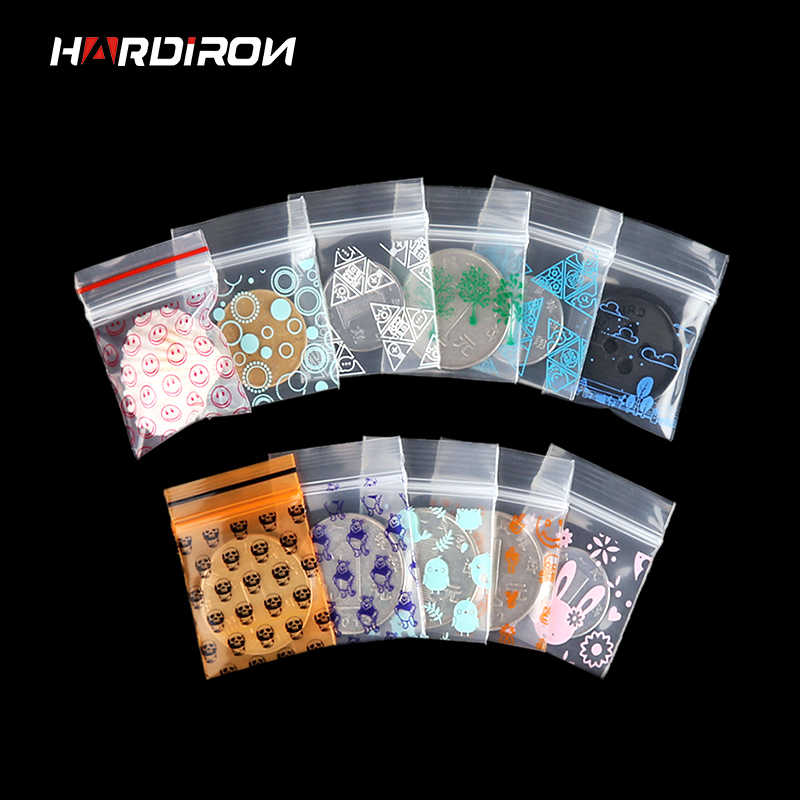 HARDIRON Color Printing Mini Zipper Lock Storage Bag Jewelry Powder Transparent PE Mixed Pattern Plastic Sealed Package Pouch