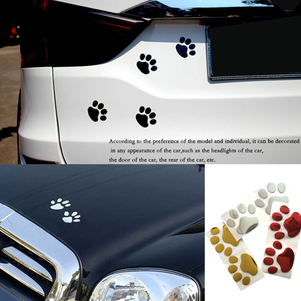 Universal Auto Car 3D Emblem Badge Sticker Decal PVC Chrome Bear Foot Paw Claw