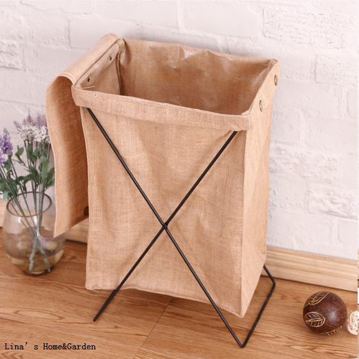 Simple Handmade Design Button Locking Portable Metal Linen Storage Box