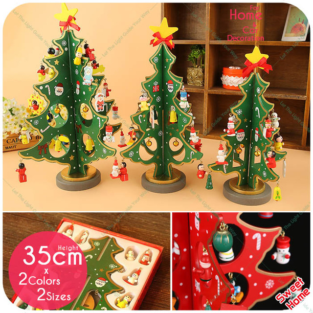 1pc 3d christmas tree wooden home shop store decoration desk decor display redgreen xmas - Christmas Decoration Store