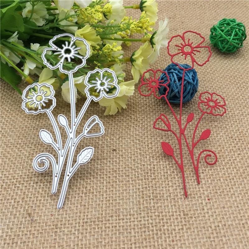 Three Flowers Metal Cutting Dies Stencil DIY Scrapbook Album Decorative Embossing Folder Paper Cards Die Cutting Template