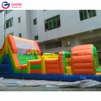цена на Giant outdoor inflatable obstacle bouncy castle commercial 0.55mm PVC inflatable obatscle course with cheap price for rental