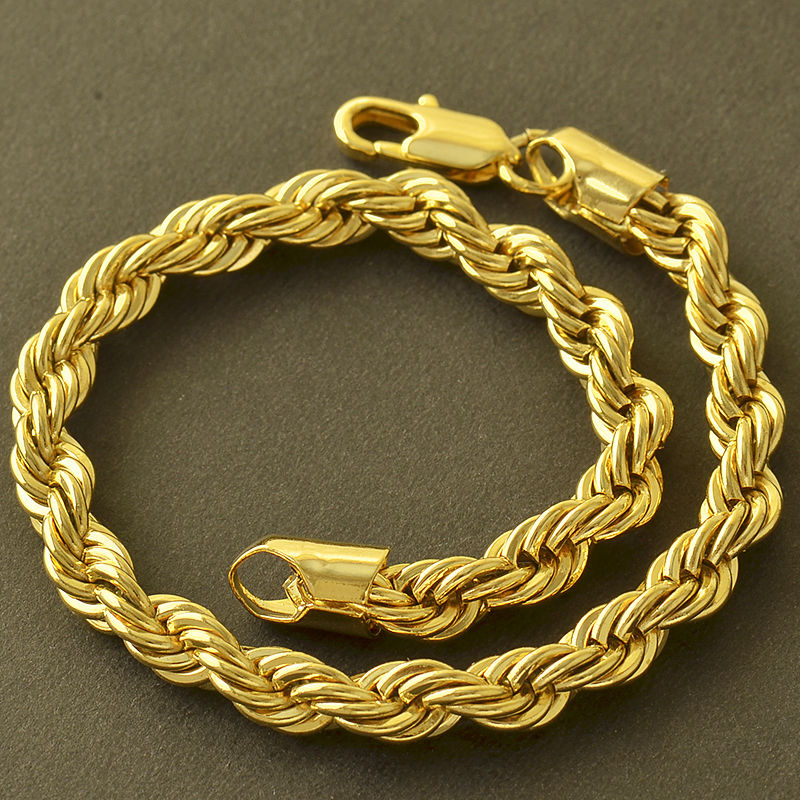 Gold-Stainless-Steel-Mens-Womens-Punk-Rope-Chain