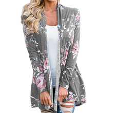 Для женщин кардиган пальто Винтаж с цветочным принтом свободные куртки пальто оверсайз пиджаки женские топы WS2751R