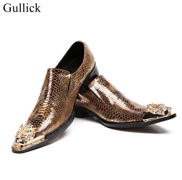 Gullick Men Party Wedding Shoes Brown Snakeskin Leather Shoes For Men |Gold Metal Toe Handmade Loafers Men Dress Shoes Size 46 new fashion gold snakeskin pattern loafers men handmade slip on leather shoes big sizes men s party and prom shoes casual flats