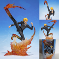 Anime One Piece Combate Figura Sanji Boneca Perna Preto Fogo Batalha Ação PVC Figures Modelo Toy 16 cm
