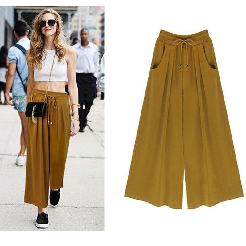 New Wide Leg Capris Korean Version Of The Wild Nine Pants Loose Wide Leg Pants Female Summer High Waist Trouser Women Clothes