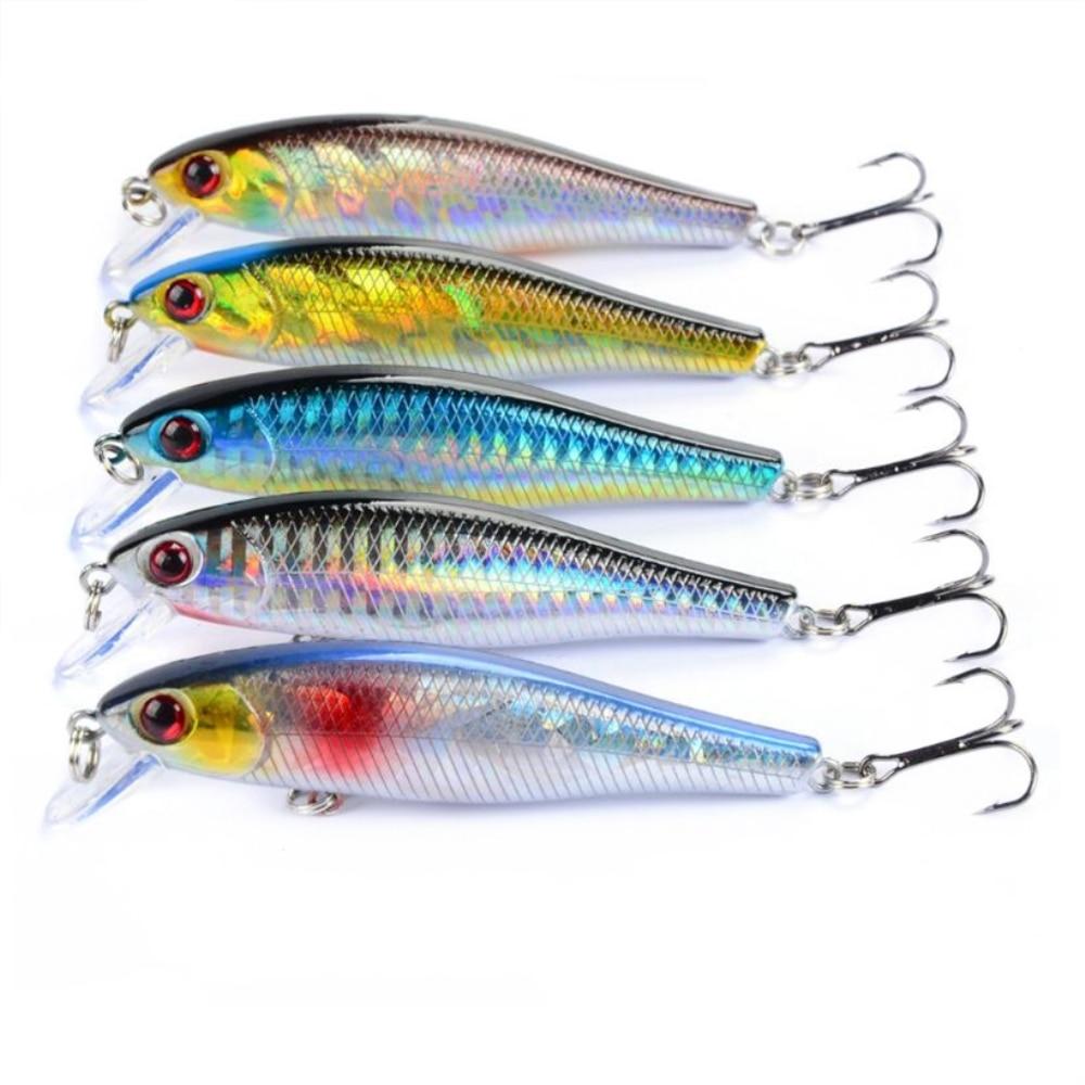1Pcs/lot 9.2g 9cm Fishing Lures Minnow Hard Wobblers Crankbait 3D Eyes Plastic Laser Reflective Baits Winter Fishing Decoy Tools