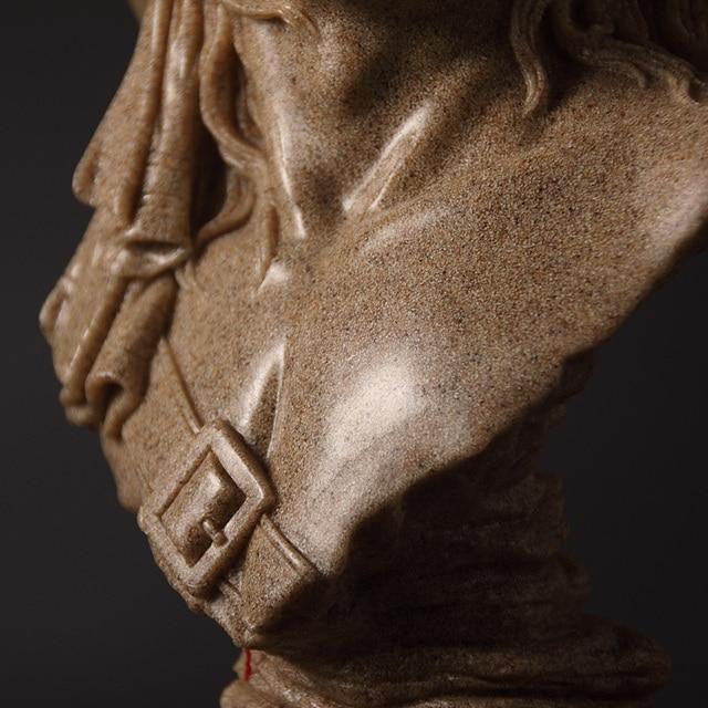 Abstract Cowboy Bust Handmade Sandstone Hunter Sculpture Portrait 6