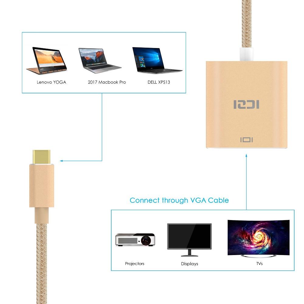 ICZI USB C Type C (USB 3.1 & Thunderbolt 3 Port Compatible) to VGA Adapter 1080P Aluminum Body Cable for Lenovo Yoga MacBook Pro