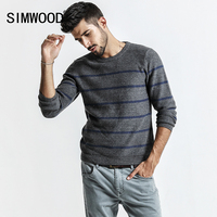 SIMWOOD Sweater Men 2017 Autumn New Pull Homme Mens Knitted Pullover White Dot Striped O Neck