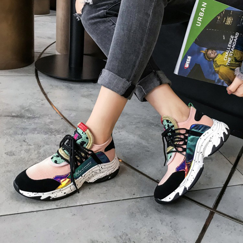 2019 printemps Style bout rond plate-forme Chunky baskets papa chaussures chaussette noir violet rose Basket Femme chaussures taille 35-39 C2187