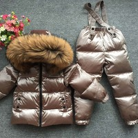 30degrees Russia Winter Baby Sets Children Clothing for Girl Ski Suit Boy Outdoor Sport Kids Down Coats Jackets+trousers Fur