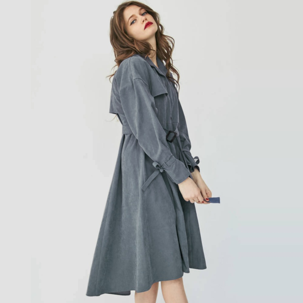 Womens   Trench   Coats Single Breasted Loose Long Gray Windbreaker Women Long Sleeve Slim Waist Lace Up Large Hem Overcoat 1022-110
