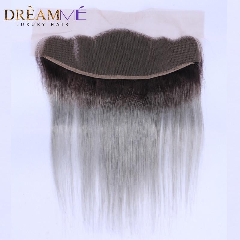 1b 그레이 스트레이트 헤어 레이스 프론트 옴 브레 - 인간의 머리카락 (검은 색) - 사진 2