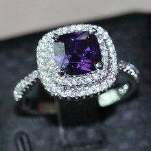 Victoria Wieck 3ct Amethyst diamante simulado 925 mujeres Engagement Wedding Band anillo ee.uu. tamaño 5-11 regalo