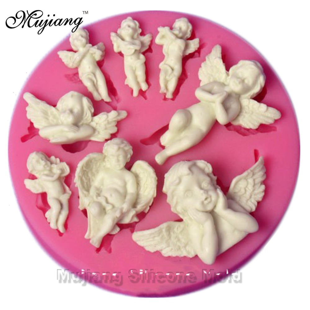 Angel baby silicone mold gumpaste chocolate fimo clay for Baby footprints cake decoration