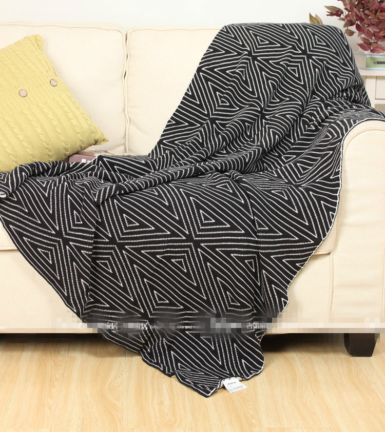 100%cotton thread modern simple black&gray geometric throw single size sofa leisure blanket bedspread free shipping nordic style cotton thread blanket thicken woven bed spread throw sofa cover blanket free shipping