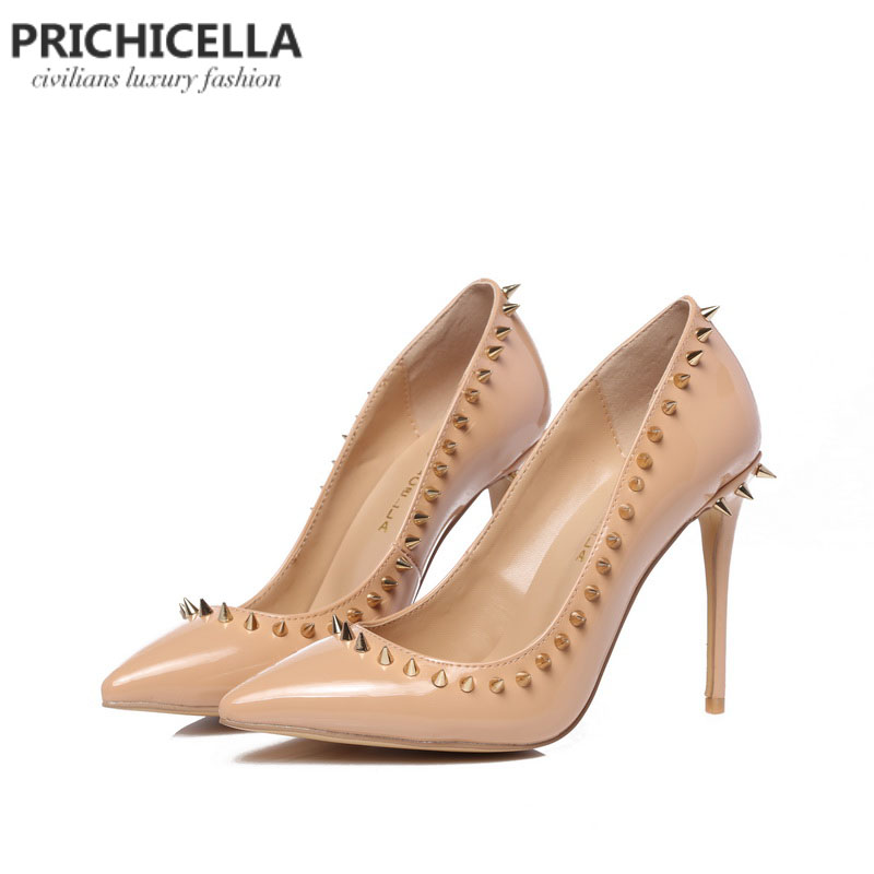 PRICHICELLA nude genuine leather pointed toe studded pumps rivets high heel dress shoe